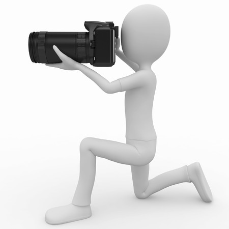 dslr camera: 3d man with DSLR camera isolated on white