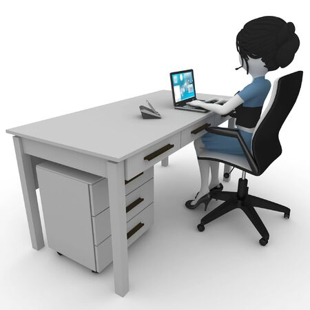 3d girl working in the office isolated on white photo