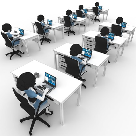 labour: 3d girl working in the office isolated on white