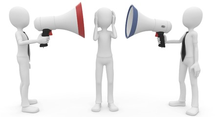 abstract figures: 3d man with megaphone speaking loud isolated on white Stock Photo