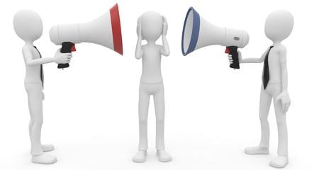 figuras abstractas: hombre 3D con meg�fono hablando en voz alta aislados en blanco