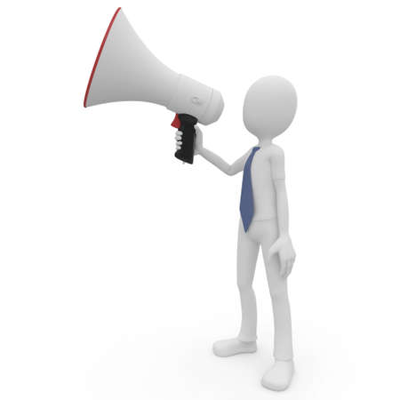 3d man with megaphone speaking loud isolated on white Stock Photo - 8188185