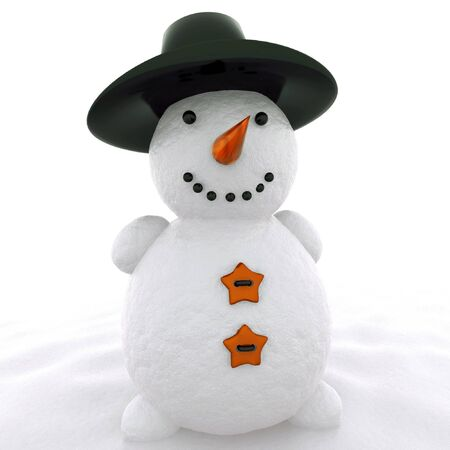 3d snowman with hat  isolated on white photo