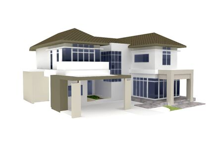 housing development: 3d house isolated on white rendered generic