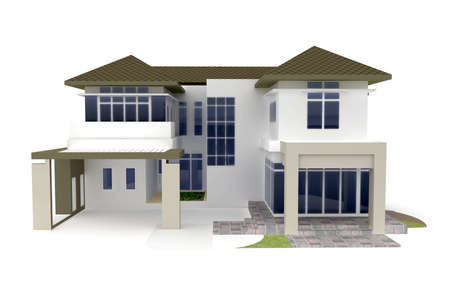 3d house isolated on white rendered generic Stock Photo - 8187888