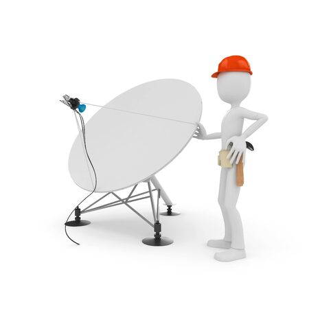 satellite dish: 3d man cable guy with satellite dish isolated on white Stock Photo