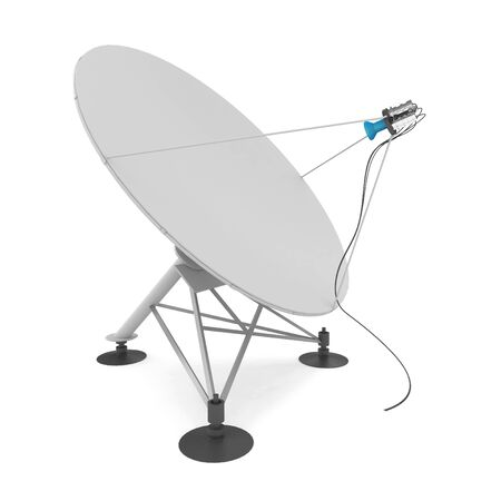 3d satellite dish isolated on white photo