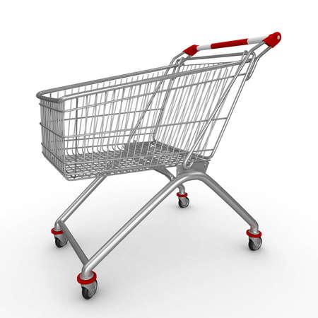 ���push cart���: 3d shopping push cart isolated on white Stock Photo