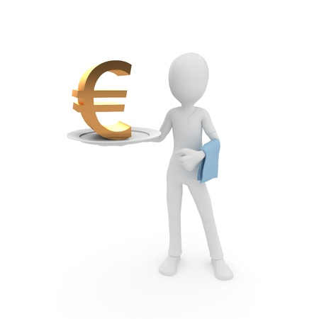 3d man with currency on the plate isolated on white photo