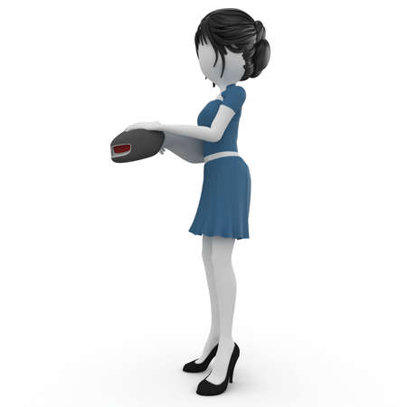 barcode scanner: 3d girl with barcode scanner isolated on white