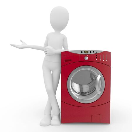 electric dryer: 3d man with washing machine isolated on white