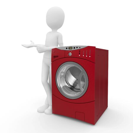 lean machine: 3d man with washing machine isolated on white