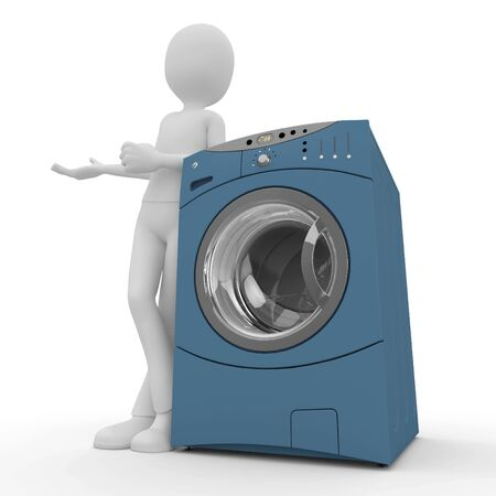 3d man with washing machine isolated on white