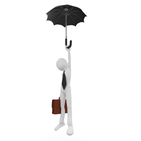 freefall: 3d man freefall with umbrella isolated on white