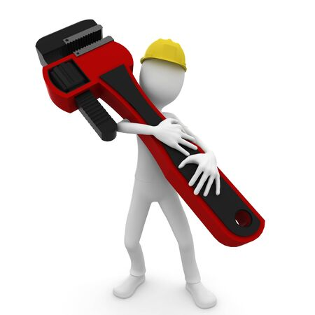 3d man worker with wrench isolated on white
