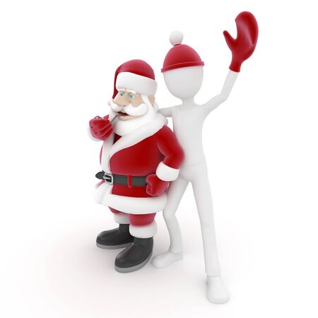 3d man with santa claus isolated on white photo