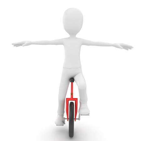 3d man with unicycle isolated on white photo