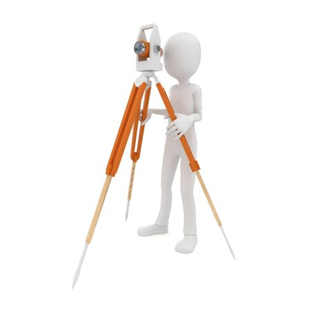 3d man with theodolite measuring isolated on white photo