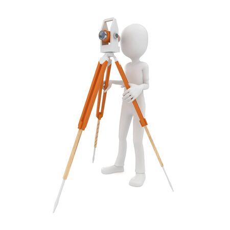 teodolito: hombre 3D con teodolito de medición aislados en blanco
