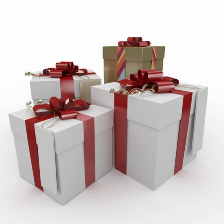 3d christmas gift boxes  isolated on white photo