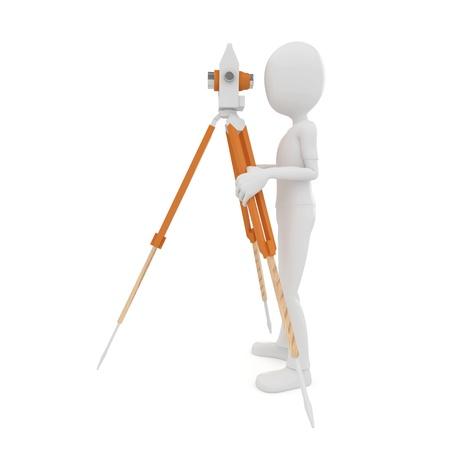 theodolite: uomo 3D con theodolite misurazione isolated on white Archivio Fotografico