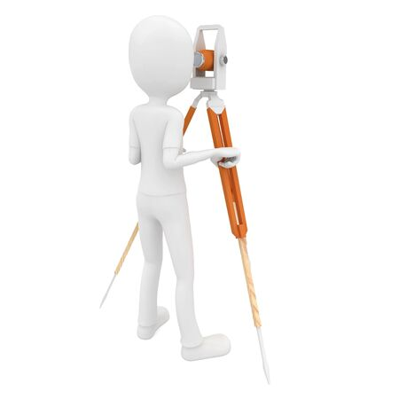 3d man with theodolite measuring isolated on white Stock Photo - 8290666