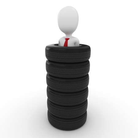 kidnapping: 3d man prisoner with tires  isolated on white