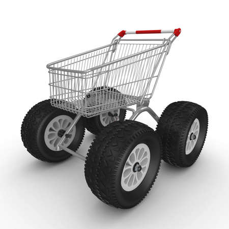 3d rendering wheel: 3d shopping push cart isolated on white Stock Photo