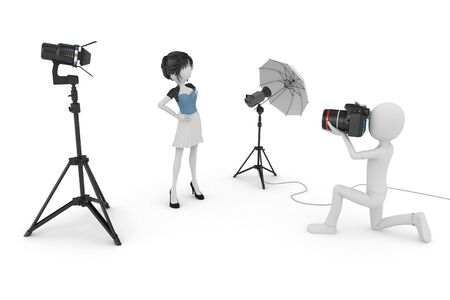 3d man and girl studio photo session isolated on white Stock Photo - 8370827