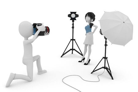 3d man and girl studio photo session isolated on white photo