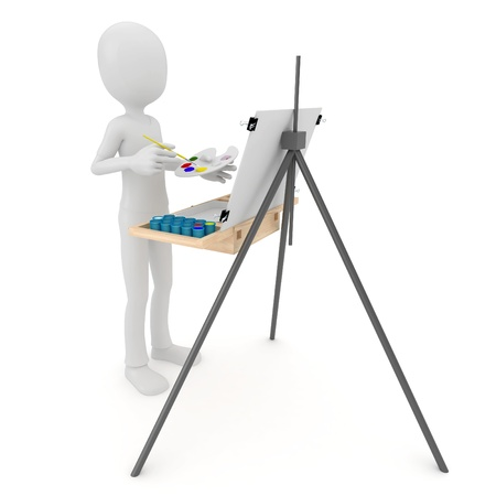 3d man painting on canvas isolated on white photo