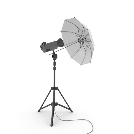 3d studio light with umbrella isolated on white