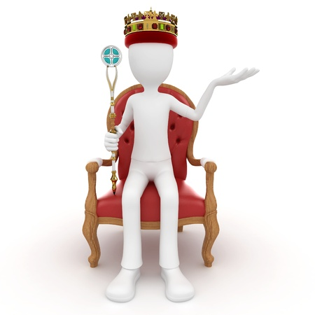 throne: 3d man king on the throne isolated on white Stock Photo
