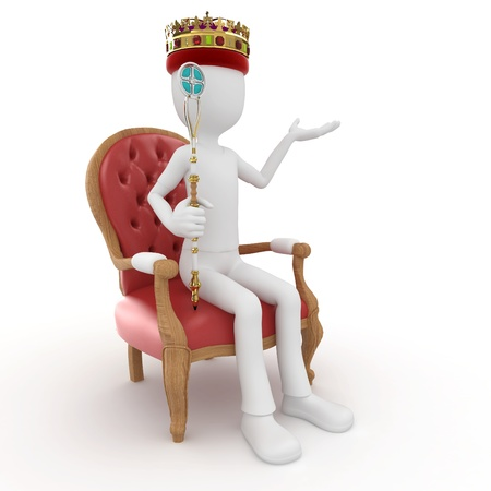 trono real: 3D de rey de hombre en el trono aislado en blanco