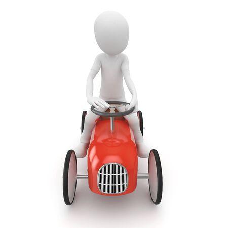 carritos de juguete: hombre 3D con coche de juguete aislada en blanco