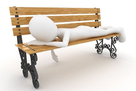 sit back: 3d man sleeping on bench isolated on white