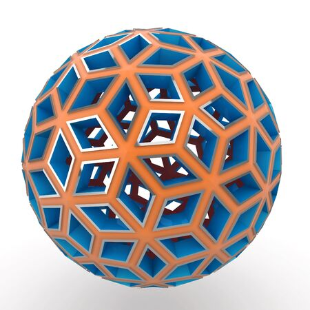 3d decorative orange and blue sphere isolated on white Stock Photo - 8370852