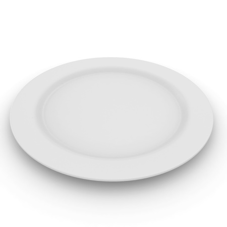 plate setting: 3d blank plate isolated on white Stock Photo