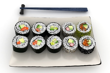 3d maki sushi plate consisting of salmon, cucumber and minced tuna maki rolls with wasabi, ginger, chopsticks, on rectangular plates isolated on white surface photo