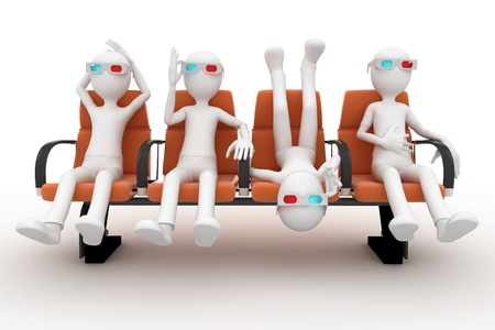 3d man watching 3d movie isolated on white photo