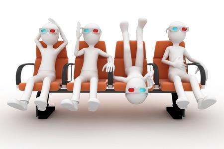 3D man kijken naar 3d film geïsoleerd op wit