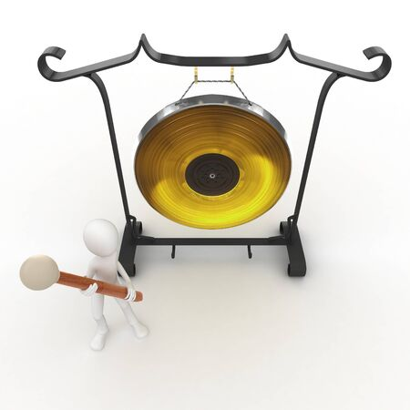exotic gleam: 3d man with big gong isolated on white