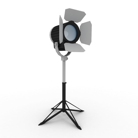 3d studio light with stand isolated on white photo