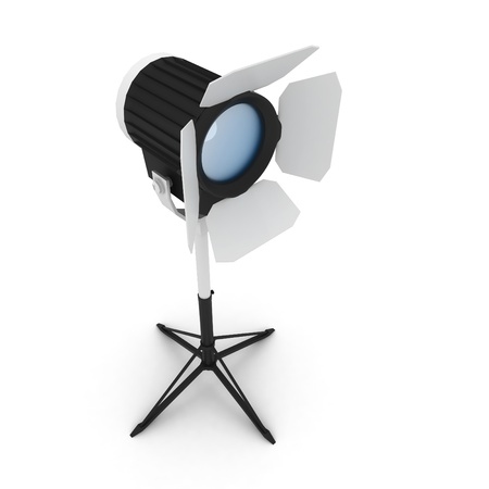 3d studio light with stand isolated on white Stock Photo - 8450965