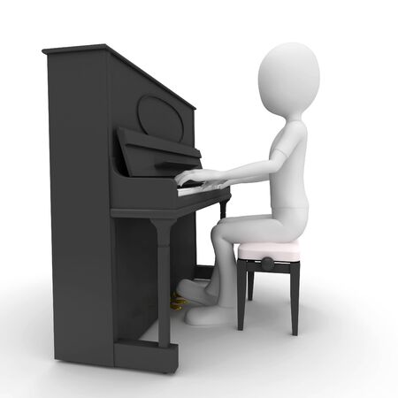 3d man playing piano isolated on white photo