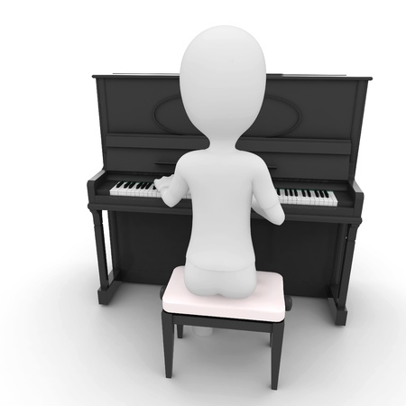 3d man playing piano isolated on white Stock Photo - 8474125