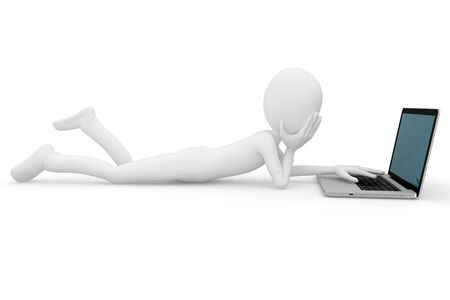 3d man working on laptop isolated on white Stock Photo - 8474096