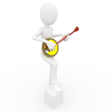 3d man with banjo isolated on white photo