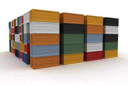 seafreight: 3D de contenedores de carga apilan aislado en blanco