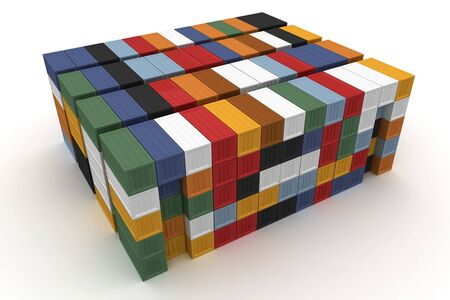 seafreight: 3d cargo containers stacked isolated on white Stock Photo